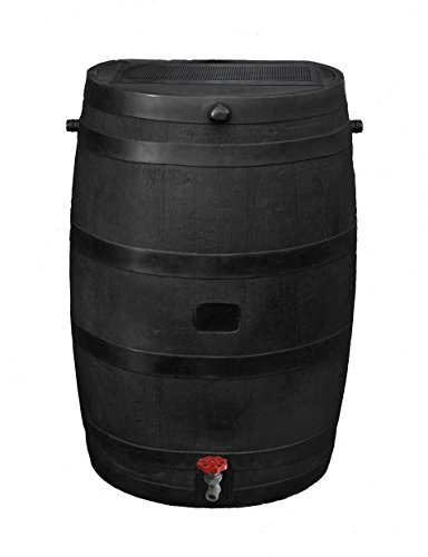 RTS Home Accents 50-Gallon ECO Rain Water Collection Barrel, Made with 100% Recycled Plastic and Plastic Spigot, Black (Plastic Faucet Water Barrel)