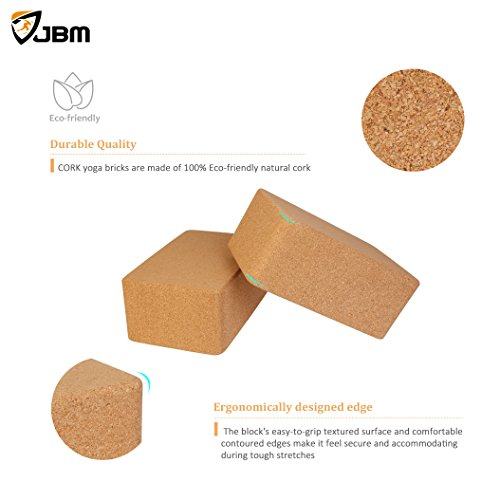 JBM Yoga Blocks 2 pack Plus Strap Cork Yoga Block Yoga Brick, Natural & Eco friendly Cork Yoga Block to Support and Deepen Poses, Lightweight, Odor Resistant and Moisture Proof
