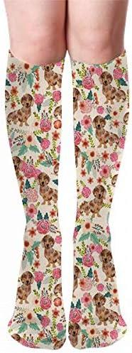 Doxie Floral Dapple Chocolate Dachshund Dog Breed Beige Thigh High Long Socks Leg Stocking Winter Warmer