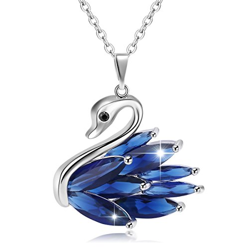 [JUFU Charm Jewelry Elegant Platinum Plated Swan Pendant Necklace Brides Rolo Chain 18
