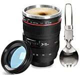 Fanatek: Camera Lens Cup,Newly Coffee Travel Mug Upgraded Stainless Steel Insulated Tumbler Coffee Thermos Large Capacity Lens Mug is Photographer Gift and Best Travel,Working,Daily Life Coffee Cup