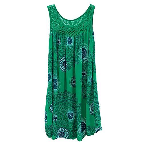 Women Dresses Scoop Neck Sleeveless Lace Splice Casual Loose Beach Plain T-Shirt Swing Dress (2XL, Green 2)