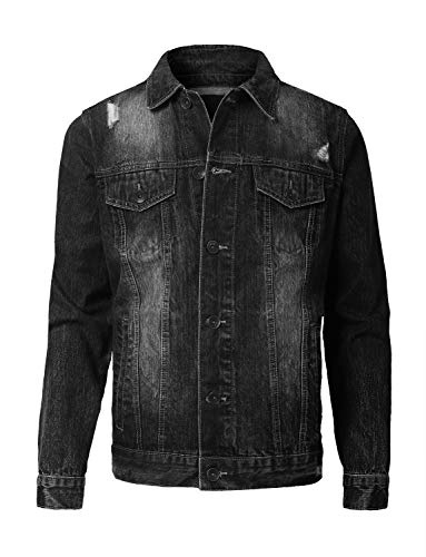 - URBANCREWS Mens Hipster Hip Hop Basic Trucker Denim Jacket Black, XL