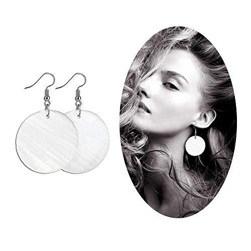 Elensan Womans White Shell Round Shaped Ear Hook Fashion Jewelry Dangle Earrings(4cm 925 Silver)