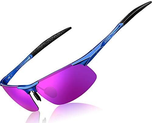 ATTCL Unisex Fashion Driving Polarized Sports Sunglasses for Men And Women Al-Mg metal Frame 8177Blue-purple]()