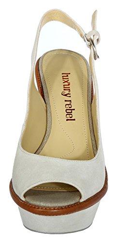 Lr Rebel Creme Luxury cream pearl Damen Slingbacks IZtddwxF