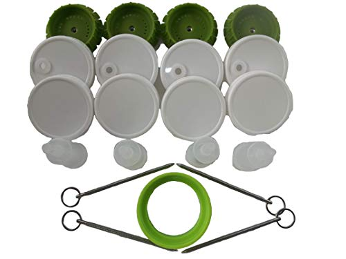 4 PicklePusher small batch fermentation kits. Complete with airlock & weight replacement. BPA free. Holds 25X more than fermenting weights. Fits widemouth mason jars not included