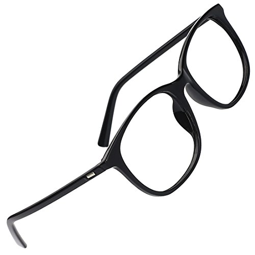 Slocyclub Unisex Oversized Non-prescription Glasses Round Clear Lens - Glasses Black Prescription Non