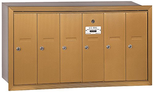 Salsbury Industries 3506BRU Recessed Mounted Vertical Mailbox with USPS Access and 6 Doors, Brass by Salsbury Industries