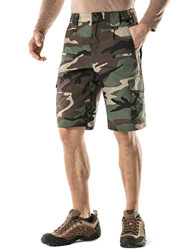 (CQR Men's Tactical Lightweight Utiliy EDC Cargo Work Uniform Shorts, Tactical Shorts(tsp203) - Woodland Olive, 32)
