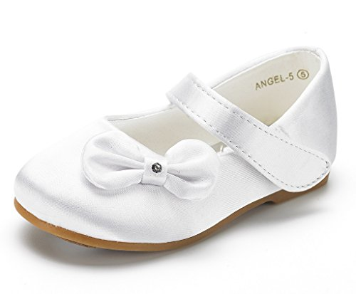 DREAM PAIRS Angel-5 Adorable Mary Jane Side Bow Buckle Strap Ballerina Flat (Toddler/Little Girl) White Satin Size 8