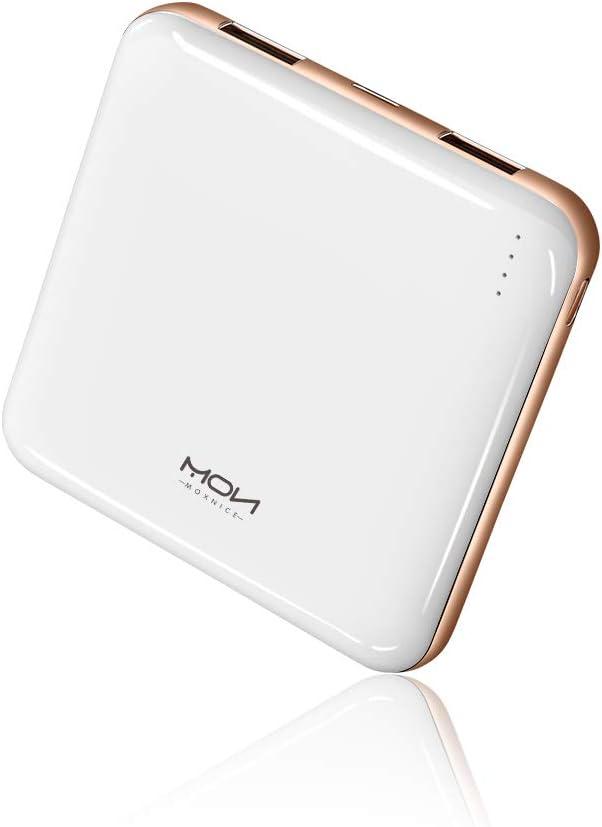 MOXNICE Bateria Externa Movil Power Bank 10000mAh, MÁS Ligero Power Bank con 2 Salidas para iPhone iPad Samsung Huawei Xiaomi, Regalos para Hombres, Mujeres (Blanco)