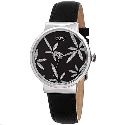 Burgi Sparkling Flower Women's Fashion Watch - Amazing Sunray Dial with Glitter Powder Flower On Leather Strap - ()