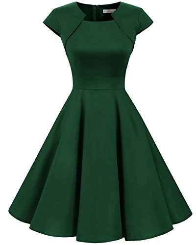 - Homrain Women's 1950s Retro Vintage A-Line Cap Sleeve Cocktail Swing Party Dress Green S