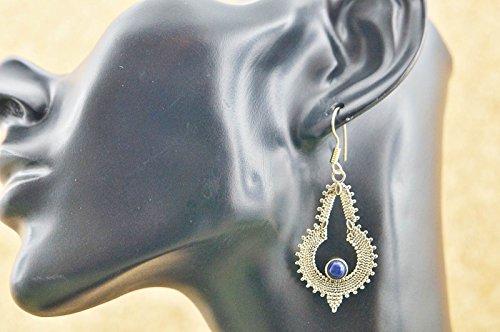 Boucles d'oreilles liaton avec lapis lazuli 27 mm x 56 mm