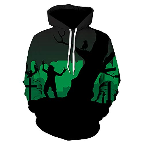 Halloween Women Men 3D Printing Top, Long Sleeve Hoodie Sweatshirt ANJUNIE Pullover (Multicolor5,3XL)]()
