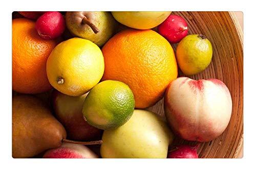 Indoor Floor Rug/Mat (23.6 x 15.7 Inch) - Fruits Basket Pear Lemon Apple Radish Green Red 2