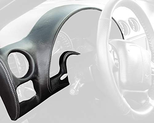 RedlineGoods Gauge Hood Cover Compatible with Pontiac Firebird 1997-02. Black Leather-Black Thread