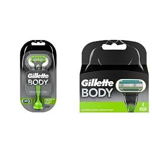 Gillette - Pack Gillette Body Maquinilla para el Cuerpo para Hombre + 4 recambios