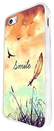 187 - Cute Birds And Sky Smile Fun Design iphone SE - 2016 Coque Fashion Trend Case Coque Protection Cover plastique et métal - Blanc