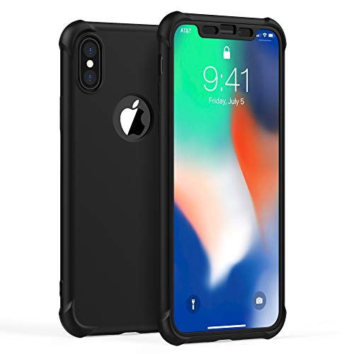 ORETECH Designed for iPhone X Case, iPhone Xs Case, with[2 x Tempered Glass Screen Protector] 360° Full Body Shockproof…