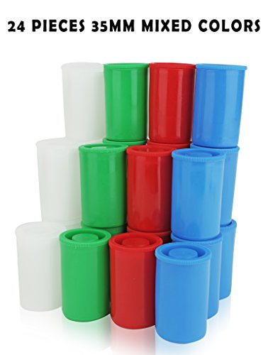 Homeio 35mm Film Canisters ''Multi-Color'' Red-Green-Blue-White Empty Photo Storage Containers with Airtight Lids - Use for Photo Negatives, Science Experiments, Geocaching, Travel (24, 35mm) (Film Canister Case)