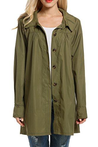 Beyove Womans Long Sleeve Lightweight Waterproof Outdoor Raincoat W/ Hooded, Army Green, XX-Large