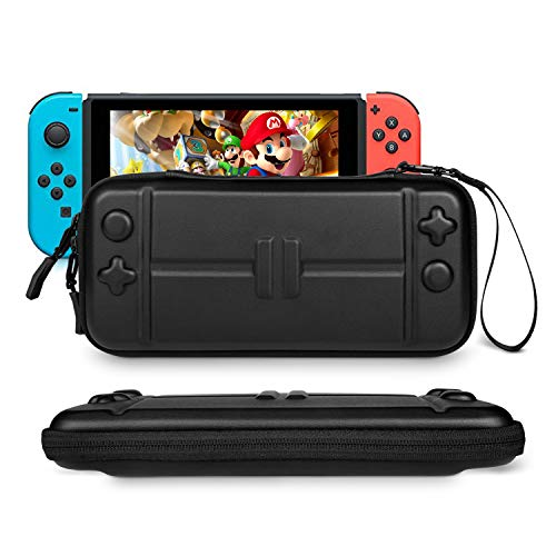 Carrying Case Compatible with Nintendo Switch Ultra Slim Rhodesy Portable Protective Hard Shell Travel Case Pouch with 8 Game Cartridges for Nintendo Switch Console & Accessories Black