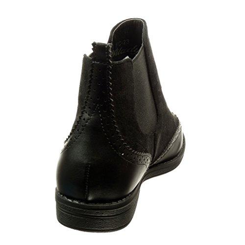 Angkorly - Chaussure Mode Bottine chelsea boots bi-matière femme finition surpiqûres coutures Talon bloc 2 CM - Noir