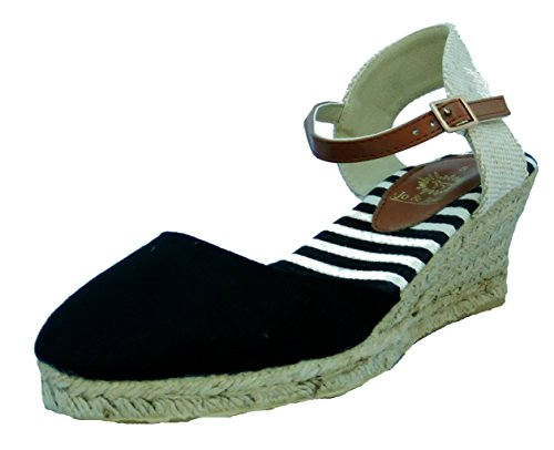 Hessian Womens Joe Sandals and Heel Wedge Jo Black Espadrille 4qwxCfwtv