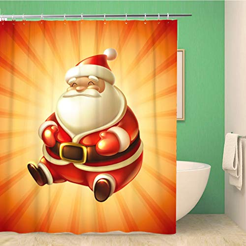 Awowee Bathroom Shower Curtain Red Christmas Santa Claus Hat Gold Blank Classic Event Glossy 72x72 inches Waterproof Bath Curtain Set with Hooks