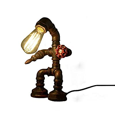 Desk Lamp, Frideko Retro Industrial Rust Iron Water Pipes Table Lamp for Bedside Desk (Robot Steampunk)