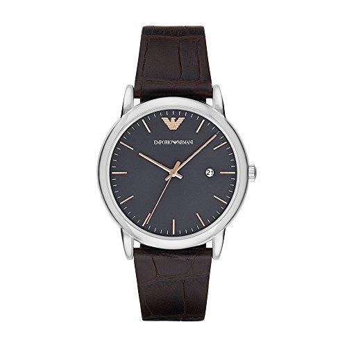 Emporio Armani Round Dial Watch - Emporio Armani Men's AR1996 Dress Brown Leather Quartz Watch