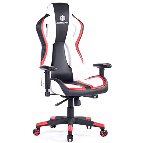 SimLife Large Gaming Chair Racing Car Style High-Back Leather Executive Office Chair PC Computer Desk Chair with Adjustable Armrest Video Game Reclining Chair for Big Men (Red/White)