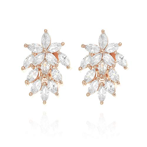 Marquise Austrian Crystal Aspiring Cluster Women's Fashion Clip on Earrings in Rose Gold