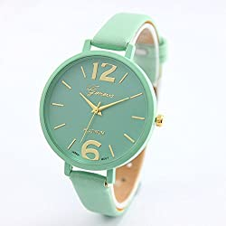 2016 hot selling casual geneva leather strap women watches retro bracelet watch ladies quartz watch clock reloj mujer