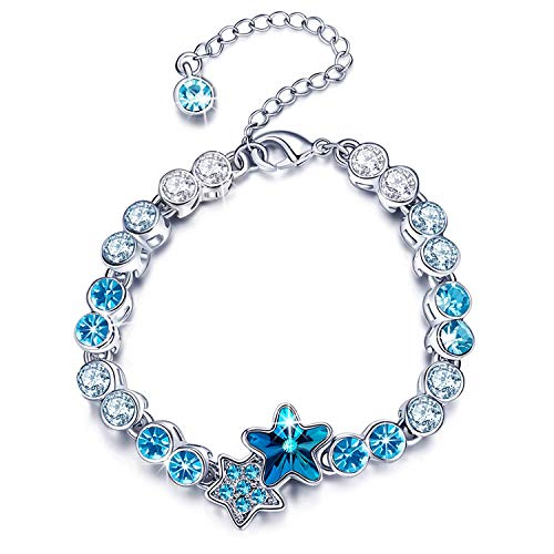 (RONLLNA Bracelet for Women and Teens Birthstone Charm Eternal Love Crystal Jewelry for Women Girl (Star Link Bracelet))