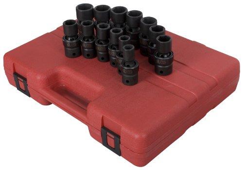 Sunex 2665 12 Inch Drive Metric Universal Impact Socket Set Metric Standard 6 Point Cr Mo 12mm   24mm 13 Piece