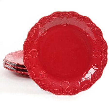 (Red) - 4-Pack Lace Transparent Glaze Dinner Plate, Red B01HTIF89S  レッド