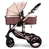 HGYG Baby Stroller for Infant and Toddler City Select Folding Convertible Baby Carriage High View Anti-Shock with Cup Holder Newborn Doll Carriage (Champagne)