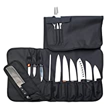 Premium Knife Roll Bag By EVERPRIDE- 10 Compartment Knife Bag For Cooks, Chefs & More- Top Quality Portable Knife Case With Many Slots, Handle & Shoulder Strap- Perfect For Small & Big Knives