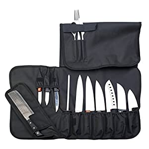 EVERPRIDE Chef Knife Roll Up Storage Bag (14 Slots) Holds 10 Knives, 1 Meat Cleaver And 3 Utensil Pockets. Easily Carried by Shoulder Strap For Professional Sous Chefs, Cooks, Culinary Aficionados