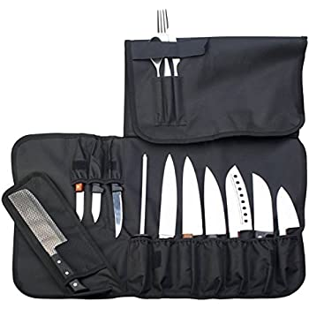 everpride chef knife roll up storage bag 14 slots holds 10 knives 1 meat cleaver. Black Bedroom Furniture Sets. Home Design Ideas