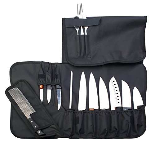 Chef Knife Roll Up Storage Bag (14 Slots) Holds 10 Knives, 1 Meat Cleaver And 3 Utensil Pockets. Easily Carried by Handle or Shoulder Strap For Professional Sous Chefs, Cooks, Culinary Aficionados