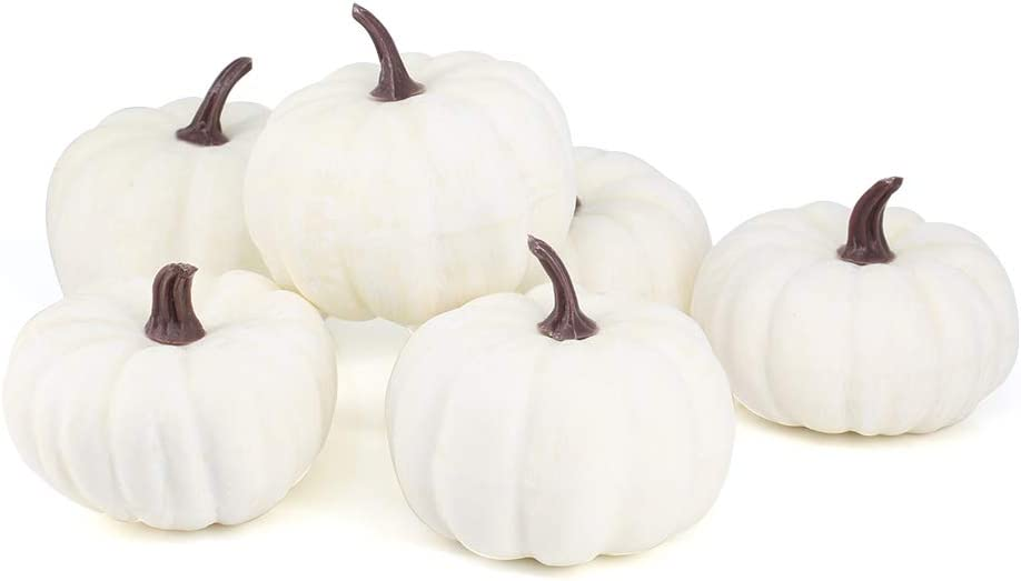 Jblcc 6PCS Rustic Harvest White Artificial Pumpkins/Mini Pumpkins for Halloween,Fall Thanksgiving Decorating
