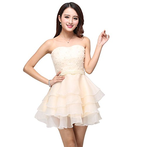 Drasawee Short Strapless Organza Pearls Prom Cocktail Party Dresses for Teen Girls Apricot
