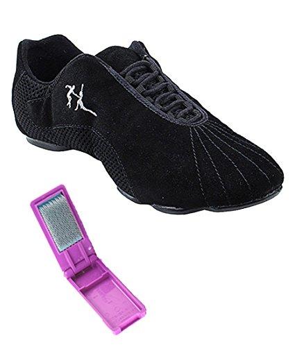Zeer Fijne Ballroom Latin Tango Salsa Dance Sneakers Schoenen Voor Vrouwen Heren Vfsn016 + Opvouwbare Borstel Bundel Zwart Suede