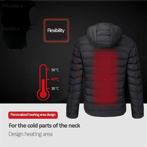 *WTTFF* Hommes Femmes Vestes Gilet Chauffant, vers Le Bas Coton extérieur Manteau USB Chauffage électrique à Capuchon d'hiver Vestes Chaudes Thermiques, Noir