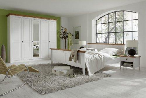 Dreams4Home-Komplett-Schlafzimmer-Beja-Bett-Kleiderschrank-2-Nachtkonsolen-Set-Massivholz-Kiefer-wei