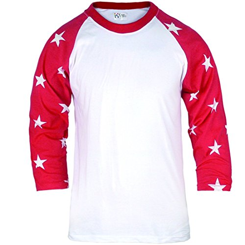 ililily Casual 3/4 Raglan Star Pattern Sleeve Basic Cotton Baseball Tshirt(tshirts-137-1-M)